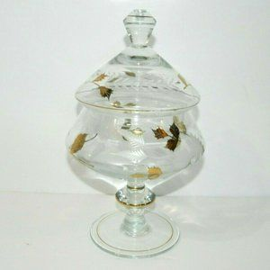 VTG Apothecary Jar Candy Dish Clear Gold Lidded
